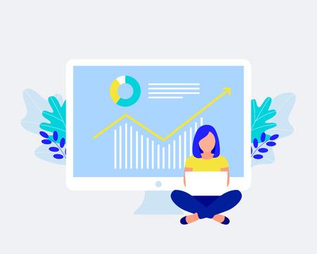 Financial management, statistics and business report concept. Little girl work on laptop. Trendy flat style. Vector illustration. Ilustração
