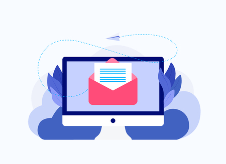 Message on computer screen. Mailing concept with envelope and laptop. Envelope mail message on laptop screen. Trendy flat style. Vector illustration.