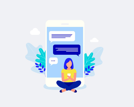 Social networking concept. Young woman chatting using smartphone. Trendy flat style. Vector illustration.