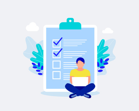 Business checking list concept. Checking work done. Business organization and achievements of goals design. Businessman are sitting near checklist. Trendy flat style. Vector illustration.