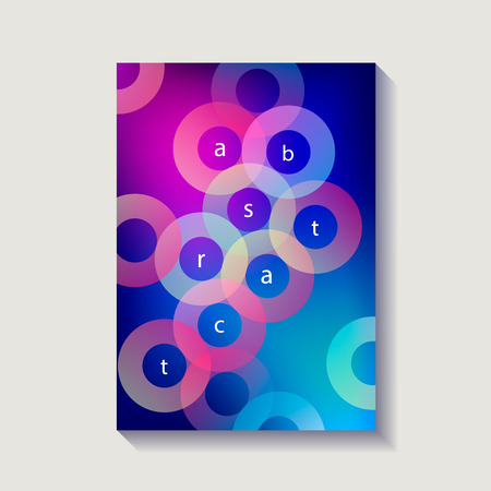 Minimalistic design cover, poster. Modern diagonal abstract background. Geometric element. Transparent colorful circles diagonal elements. Vector illustration.