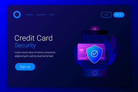 Financial protection credit card. Smartphone with credit card and protection shield. Trendy gradient style. Landing page template. Vector illustration.