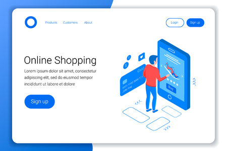 Online shopping isometric concept. Young man shop online using smartphone. Flat 3d style. Landing page template. White background. Vector illustration.
