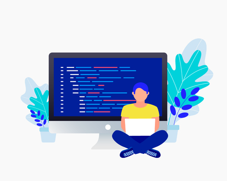 Programmer and coding concept. Man sitting near big laptop and coding and correct errors in project. Laptop screen with program code. Trendy flat style. Vector illustration.