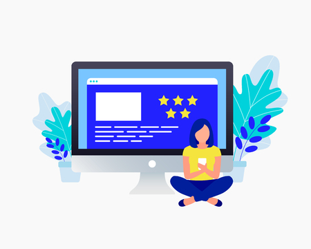 Star rating feedback concept. Positive review. Young girl stay her feedback. Trendy flat design. Vector illustration