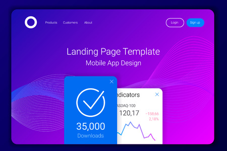 Abstract colorful waves background. Futuristic design. Mobile app landing page template. Vector illustration.
