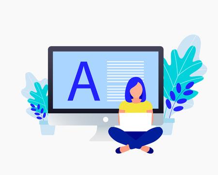 Copyright, blogging flat concept. Young woman write text near a laptop. Trendy flat design. Vector illustration. Ilustração