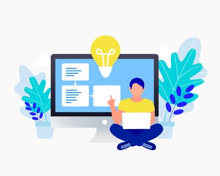 Businessman with an idea concept. Man sitting near laptop. Light bulb as symbol of great business idea. Trendy flat design. Vector illustration
