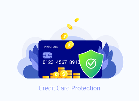 Credit card security concept. Credit card, money and shield. Payment protection system. Secure bank transaction. Trendy flat style. Vector illustration