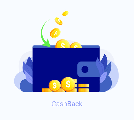 Cash back concept. Wallet with money and gold coins back. Cash back bank transaction. Trendy flat style. Vector illustration