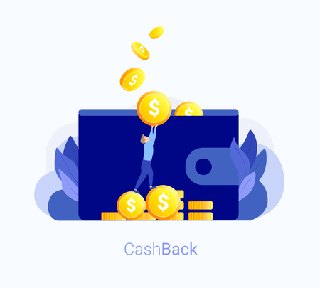 Cash back concept. Wallet with money, man puts coin in the wallet. Gold coins back. Cash back bank transaction. Trendy flat style. Vector illustration