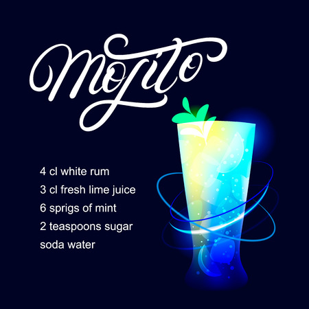 Mojito alcohol cocktail recipe. Modern hand written lettering label. Dark background. Trendy flat style. Vector illustration.