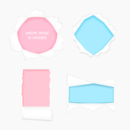Set of realistic paper ragged hole torn with space for text. Paper with ripped edges. Torn side set of banners for web and print. Torn paper template. Vector illustration.
