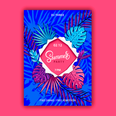 Summer party hand written lettering text on squared ripped paper. Palm and monstera leaves, tropical and jungle plants and flowers. Trendy colorful banner. Beach party flyer, poster invitation. Vector