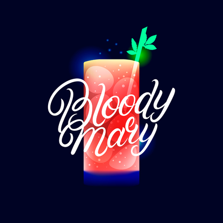 Alcohol cocktail Bloody Mary. Modern hand written lettering label. Dark background. Trendy flat style. Vector illustration.