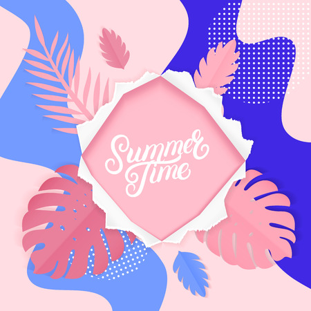 Summer time hand written lettering tropical poster. Paper ragged hole torn effect. Paper square for text and colorful tropical leaves elements on pink background. Trendy design. Vector illustration. Ilustração