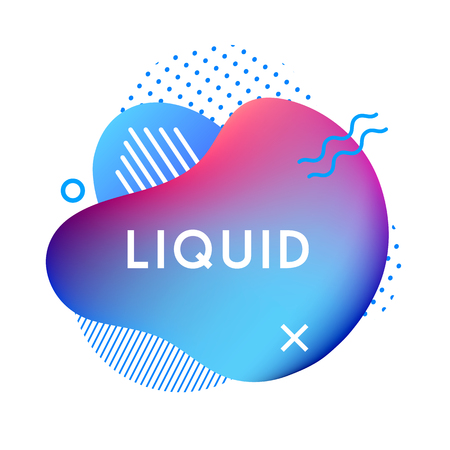 Abstract liquid shape. Fluid design. Gradient waves with geometric lines, dots isolated on white background. Vector illustration. Ilustração