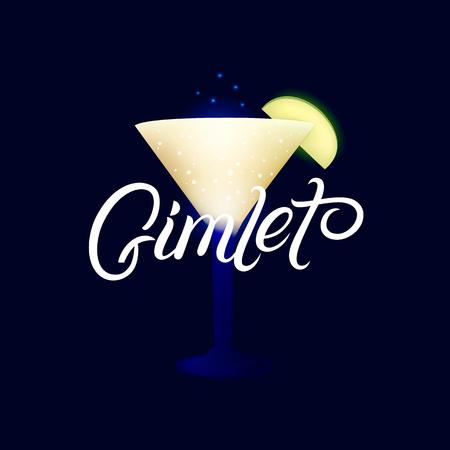 Alcohol cocktail Gimlet. Modern hand written lettering label. Dark background. Trendy flat style. Vector illustration. Ilustração