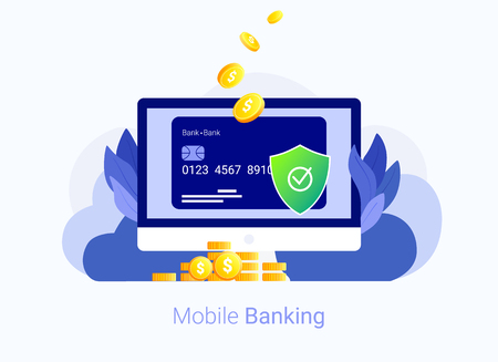 Credit card security concept. Laptop, credit card, money and shield. Internet payment protection system. Secure bank transaction. Trendy flat style. Vector illustration