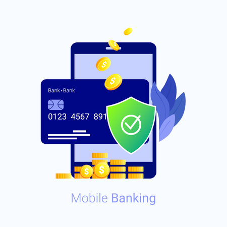 Mobile payment securit concept. Data and transactions protection. Smartphone, credit card, money and shield. Trendy flat style. Vector illustration. Ilustração