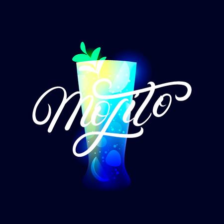 Alcohol cocktail Mojito. Modern hand written lettering label. Dark background. Trendy flat style. Vector illustration. Ilustração