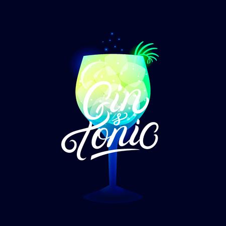 Alcohol cocktail Gin and Tonic. Modern hand written lettering label. Dark background. Trendy flat style. Vector illustration. Ilustração