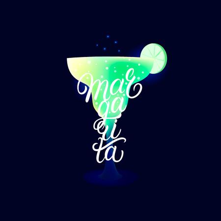 Alcohol cocktail Margarita. Modern hand written lettering label. Dark background. Trendy flat style. Vector illustration. Ilustração