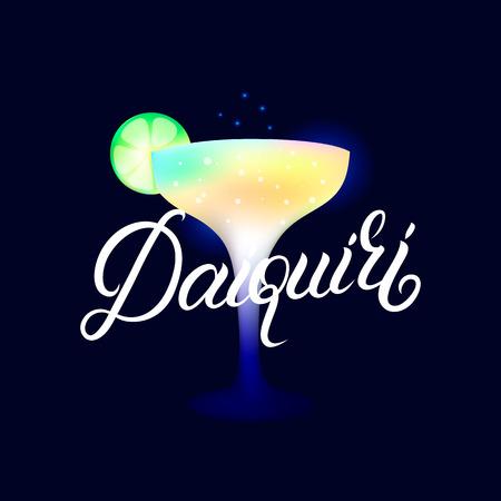 Daiquiri. Modern hand written lettering label. Dark background. Trendy flat style. Vector illustration.