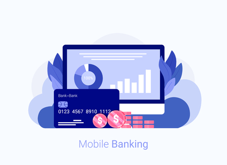 Internet banking concept. Laptop, credit card, money and web interface with income and expenses charts and graphs. Trendy flat style. Vector illustration.