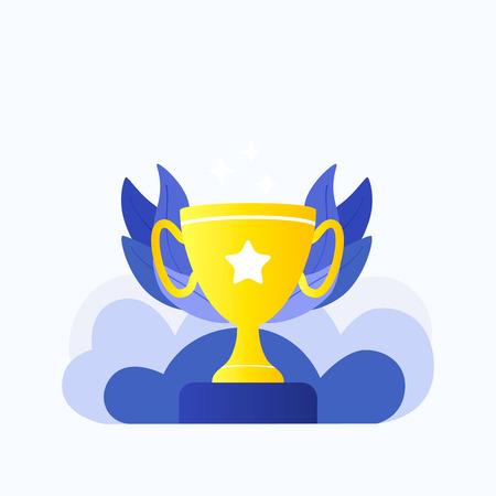 Trophy winner gold cup. Reward program. Trendy flat style. Vector illustration.