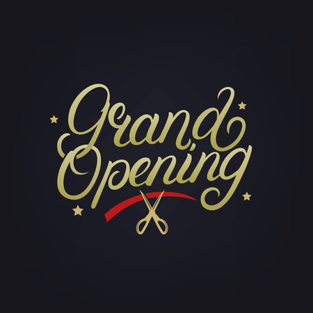 Grand opening hand written lettering. Modern brush calligraphy. Template for greeting card, poster, logo, badge, icon, banner. Vector illustration.