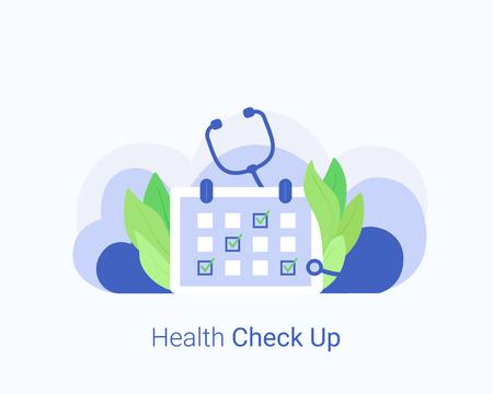 Medical check up concept. Stethoscope and annual check up, preventive medical examination. Trendy flat style. Vector illustration. Ilustração Vetorial