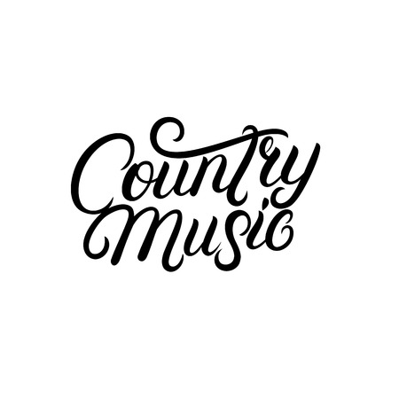 Country Music hand written lettering. Typography for cards, events, music festival, promotions, posters, banners. Vector illustration.