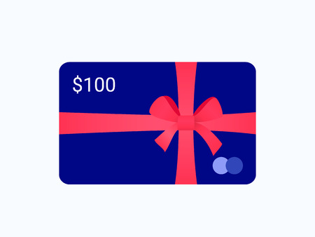 Gift bank card with red ribbon and bow. Trendy flat style. Vector illustration.