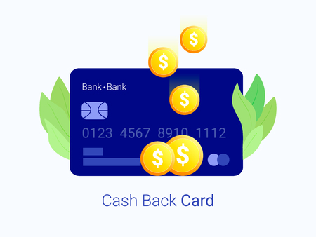 Cash back concept. Credit card with coin money. Trendy flat style. Vector illustration.