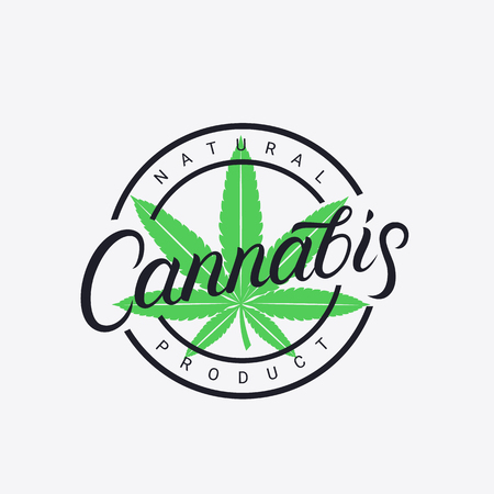 Cannabis hand written lettering logo, label,emblem, badge. Hemp related prints, signs, typography, logotype templates. Vector illustration.