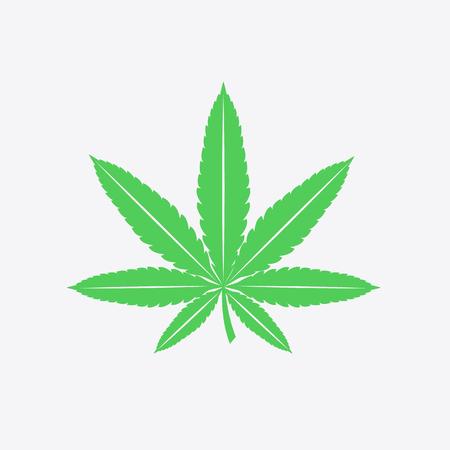 Cannabis leaf sign, symbol. Green icon of hern leaf on grey background. Vector illustration.