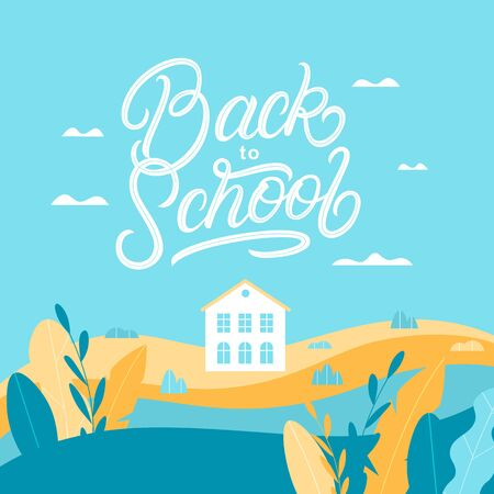 Back to school hand written lettering with beautiful autumn backround. white school house, colorful leaves and autumn landscape. Flat style. Vector illustration. Archivio Fotografico - 129034457