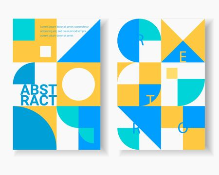 Retro geometric covers, posters design. Abstract. Colorful circles, squares, rhombuses and other shapes. Swiss modernism. Vector illustration.