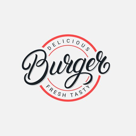 Burger hand written lettering label, badge, emblem, sign. Modern brush calligraphy, typography. Vintage retro style. Vector illustration.