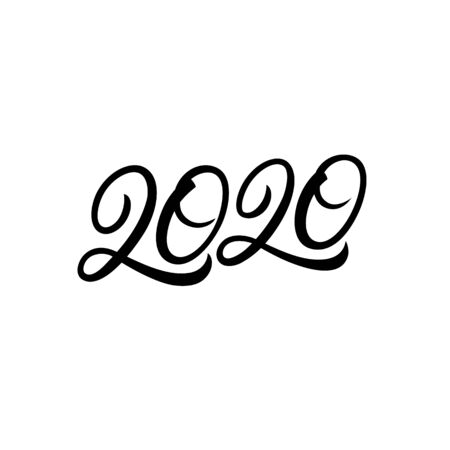 2020 hand written lettering text for Happy New Year card, calendar and others. Modern brush calligraphy, typography. Vector illustration.