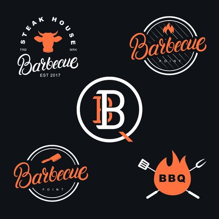 Barbecue set of hand written lettering label, badge, sign, emblem. Vintage retro style. Isolated on background. Vector illustration. 일러스트