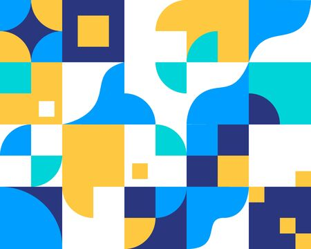 Retro geometric abstract background. Colorful circles, squares, rhombuses and other shapes. Vector illustration.