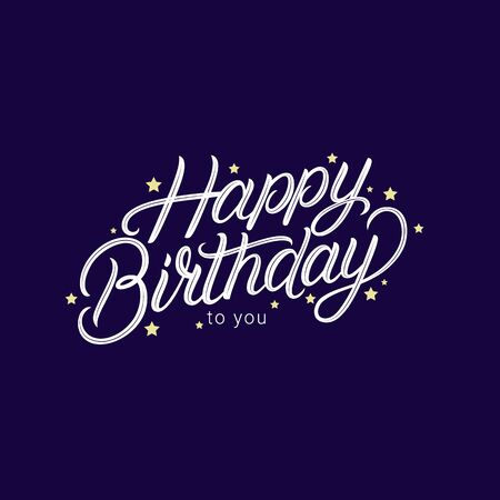 Happy Birthday hand written lettering. Modern brush calligraphy phrase, quote. Vector Illustration.