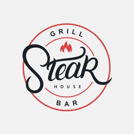 Steak House hand written lettering logo, label, badge, sign, emblem for barbecue, grill restaurant, steak house, meat store. Modern brush calligraphy. Vintage retro style. Vector illustration. Фото со стока - 129786156