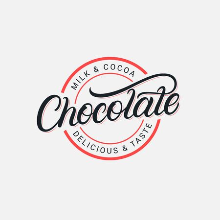 Chocolate hand written lettering logo, label, badge, sign, emblem. Modern brush calligraphy. Vintage retro style. Vector illustration. 일러스트