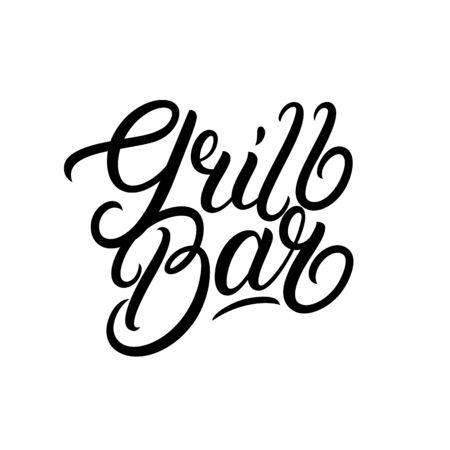 Grill Bar hand written lettering logo, label, badge, sign, emblem. Modern brush calligraphy. Vector illustration. Фото со стока - 129786170