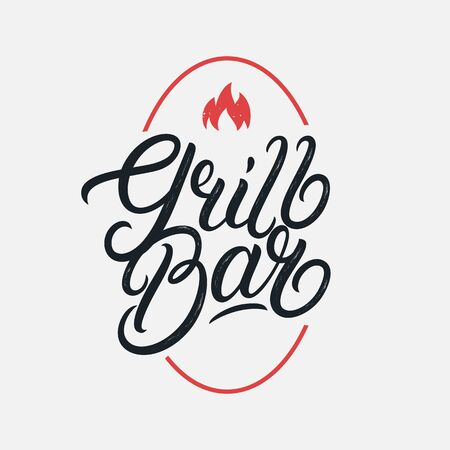 Grill Bar hand written lettering logo, label, badge, sign, emblem. Modern brush calligraphy. Vector illustration.