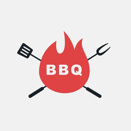 BBQ logo, label, badge, sign, emblem for barbecue, grill restaurant, steak house, meat store. Modern brush calligraphy. Vintage retro style. Vector illustration. Фото со стока - 129786267