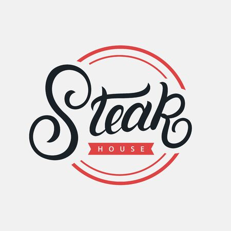 Steak House hand written lettering logo, label, badge, sign, emblem for barbecue, grill restaurant, steak house, meat store. Modern brush calligraphy. Vintage retro style. Vector illustration. Фото со стока - 129786274